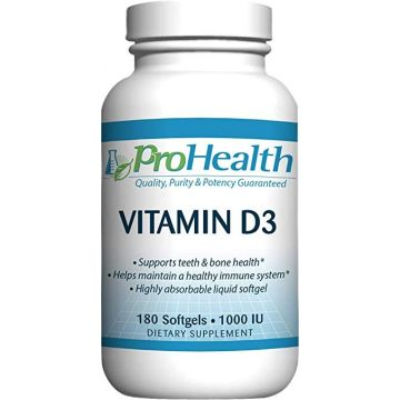 Vitamin D3, 1000 IU, 180 softgels